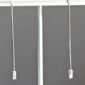 Sterling Silver Sparkling Box Snake Chain Earrings